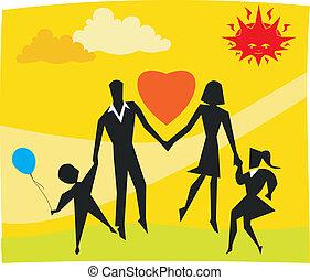 familie, park, spielen zusammen