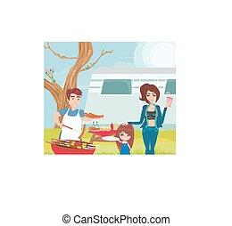 familie, picknick hat