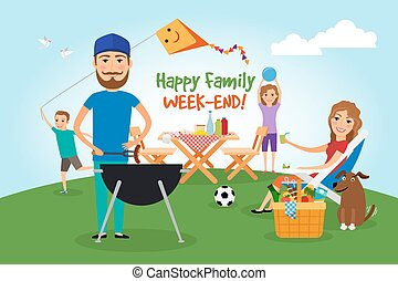 familie, picnic., grillfete