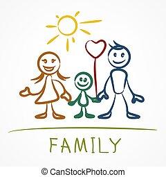 familie, pind figur, glade