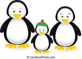 familie, pinguin