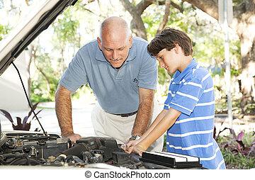 familie, projekt, -, automobil reparer