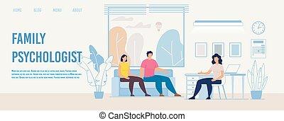 familie, psychologe, wohnung, webpage, beraten, vektor