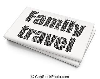 familie, reise, urlaub, hintergrund, leer, zeitung, concept: