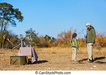 familie, safari