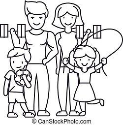 familie, schläge, turnhalle, editable, abbildung, zeichen, vektor, ikone, linie, sport, aktive, hintergrund, glücklich