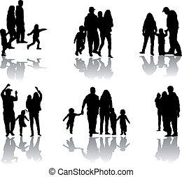 familie, silhouette