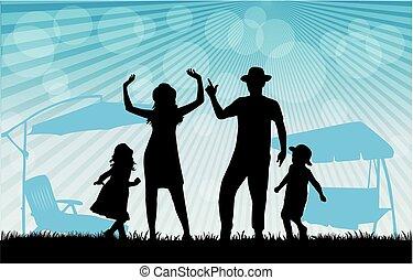 familie, silhouette.