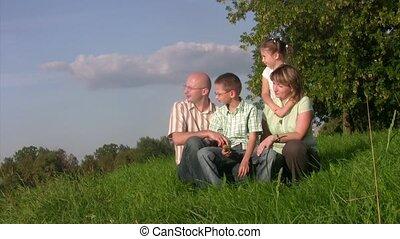 familie, sitzt, in, a, gras, und, aussehen, afar.