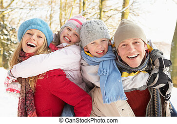 familie, spaß haben, verschneiter , waldland
