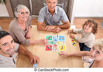 familie, spille, planke, games.