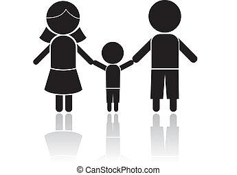familie, stecken figur