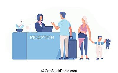 familie, stehende , an, flughafenanmeldungstheke, oder, registrierung, buero, und, reden, weibliche , worker., szene, mit, touristen, oder, reisende, an, hotel, lobby., bunte, vektor, abbildung, in, wohnung, karikatur, style.
