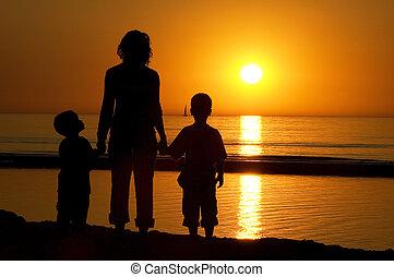 familie, stehende , strand