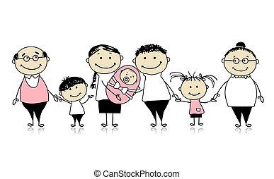 familie, stor, nyfødt baby, børn, glade