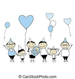 familie, stor, nyfødt, fødselsdag, baby, børn, glade