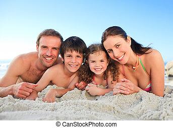 familie, strand