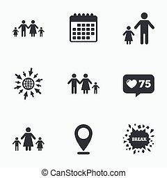 familie, tegn., to, forældre, børn, kids.