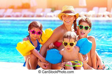 familie, teich, glücklich