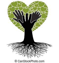 familie, tree-hand