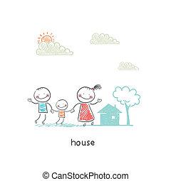 familie, und, home., illustration.