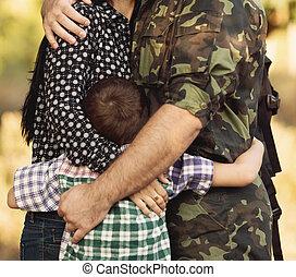 familie, und, soldat