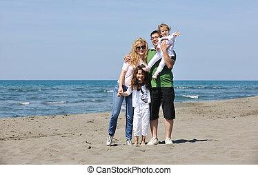 familie, unge, hav morskab, strand, glade