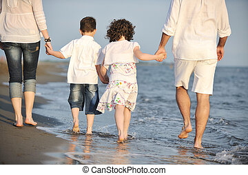 familie, unge, solnedgang, hav morskab, strand, glade