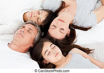 familie, unten liegen, auf, ihr, bett