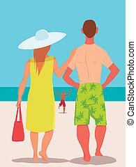 familie vakantie, op het strand