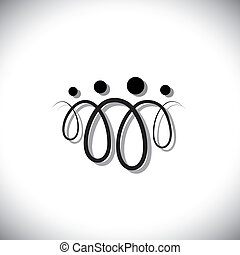 familie van vier, mensen, abstract, symbols(icons), gebruik,...