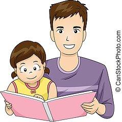familie, vater, lesen, buch, kind, m�dchen
