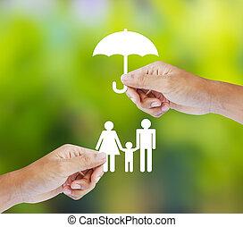 familie, versicherung, begriff