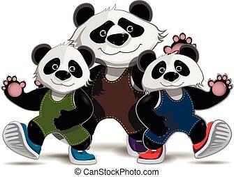 familie, von, pandas