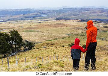 familie wandern, patagonia