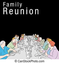 familie wiedervereinigung, mahlzeit