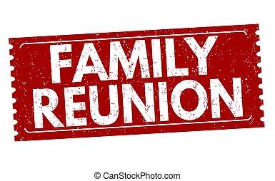 familie wiedervereinigung, zeichen, oder, briefmarke
