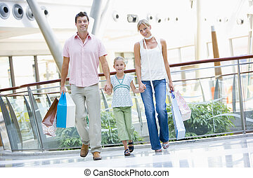 familie winkelen, in, mall