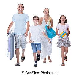 familie, zwei, urlaub, bereit, kinder, glücklich