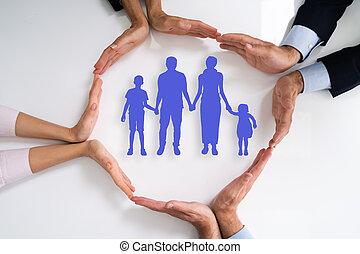 familiegroep, anders, beschermen, mensen