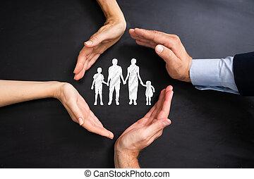 familiegroep, beschermen, mensen, anders