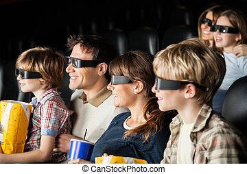 familien, aufpassender film, theater, glücklich, 3d
