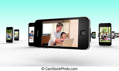 familien, gebrauchend, internet, togethe