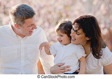 familien, glücklich, eltern, familie, kind