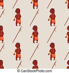 familien, illustration., leute, muster, seamless, traditionelle , person, maasai, vektor, hintergrund, afrikanisch, kleidung, glücklich