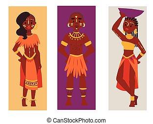 familien, illustration., leute, traditionelle , person, maasai, vektor, afrikanisch, karten, kleidung, glücklich