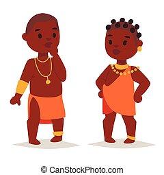 familien, illustration., leute, traditionelle , person, maasai, vektor, afrikanisch, kleidung, glücklich