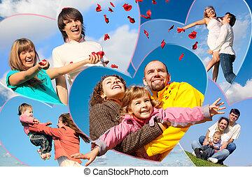 familien, mit, kinder, und, junger, paar, scatters, blütenblätter , von, rosen, gegen, himmelsgewölbe, collage, in, herz gestaltet