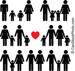 familienleben, ikone, satz, in, schwarz