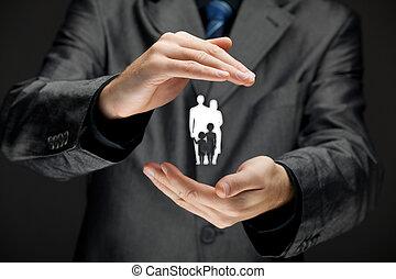 familienleben, versicherung, und, politik